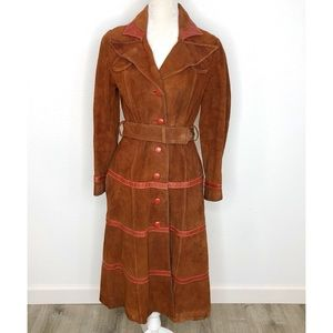 Vintage Penny Lane Style Suede Trench Coat Size M